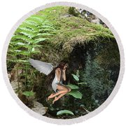 Floating Fairy In Forest Round Beach Towel