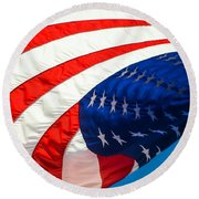 Floating Flag  Round Beach Towel by Mary Ward