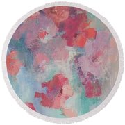 Floating Flowers Painting Round Beach Towel