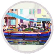Floating Grocery Store Round Beach Towel by Mike Robles