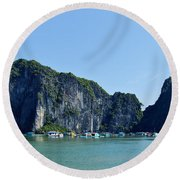 Floating Village Ha Long Bay Round Beach Towel by Scott Carruthers