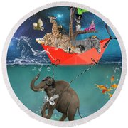 Floating Zoo Round Beach Towel
