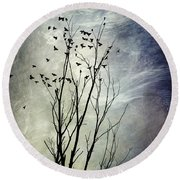Flock Of Birds In Silhouette Round Beach Towel by Christina Rollo