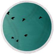 Flock Of Birds Round Beach Towel