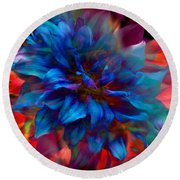 Floral Abstract Color Explosion Round Beach Towel by Stuart Turnbull