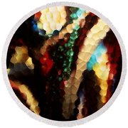 Floral Abstract I Round Beach Towel by Sharon Elliott