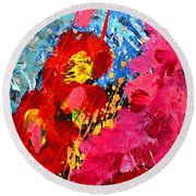 Floral Abstract Part 1 Round Beach Towel