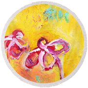 Abstract Flowers Silhouette No 14 Round Beach Towel