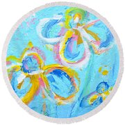 Abstract Flowers Silhouette No 16 Round Beach Towel