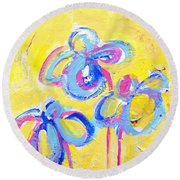 Abstract Flowers Silhouette No 13 Round Beach Towel