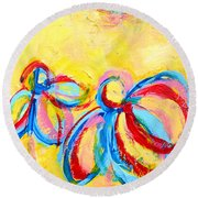 Abstract Flowers Silhouette No 12 Round Beach Towel