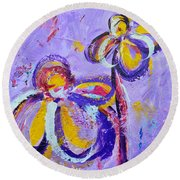 Lavender Abstract Flowers No 8  Round Beach Towel