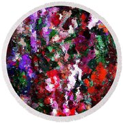 Floral Expression 021015 Round Beach Towel by David Lane