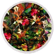 Round Beach Towel featuring the digital art Floral Expression 121914 by David Lane