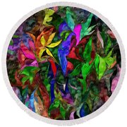 Round Beach Towel featuring the digital art Floral Fantasy 012015 by David Lane