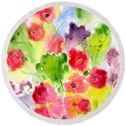 Round Beach Towel featuring the painting Floral Fantasy by Paula Ayers