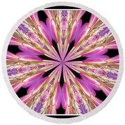 Floral Kaleidoscope  Waterlily Round Beach Towel by Rose Santuci-Sofranko