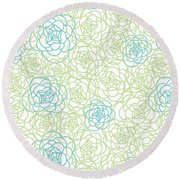 Floral Lines Round Beach Towel