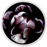 Floral Symmetry Round Beach Towel by Rona Black