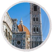 Florence Cathedral Bell Tower Round Beach Towel