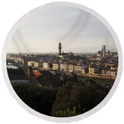 Florence Form The Piazza Michalengelo Round Beach Towel by Belinda Greb