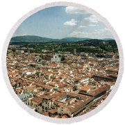 Florence Italy Cityscape Round Beach Towel