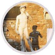 Florence Italy Michelangelo David Replica Round Beach Towel