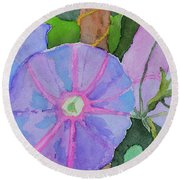 Round Beach Towel featuring the painting Florence's Morning Glories by Beverley Harper Tinsley