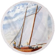 Florida Catboat At Sea Round Beach Towel