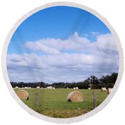 Round Beach Towel featuring the photograph Florida Hay Rolls by D Hackett
