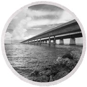 Florida Keys Seven Mile Bridge South Bw Vertical Round Beach Towel