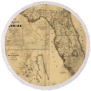 Florida Map Art - Vintage Antique Map Of Florida Round Beach Towel