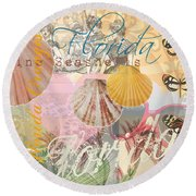 Florida Seashells Collage Round Beach Towel