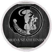 Florida State University Black And White Barn Door Round Beach Towel