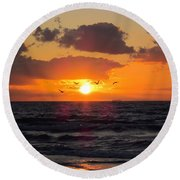 Florida Sunrise Round Beach Towel by MTBobbins Photography