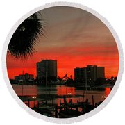 Florida Sunset Round Beach Towel by Hanny Heim