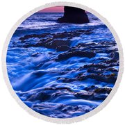 Flow - Dramatic Sunset View Of A Sea Stack In Davenport Beach Santa Cruz. Round Beach Towel
