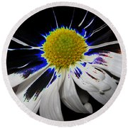Art. White-black-yellow Flower 2c10  Round Beach Towel