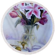 Flower Bouquet With Teapot And Fruit Round Beach Towel