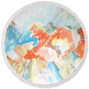 Flower Bursts Round Beach Towel by Esther Newman-Cohen