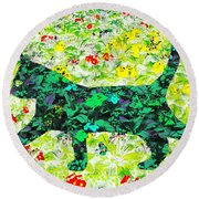 Flower Cat Round Beach Towel