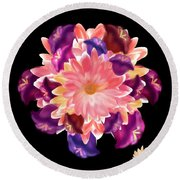 Flower Circle Round Beach Towel