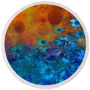Flower Fantasy In Blue And Orange  Round Beach Towel by Ann Powell