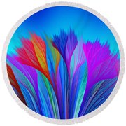 Flower Fantasy In Blue Round Beach Towel by Klara Acel