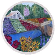 Flower Farm -poppies Daisies Lavender Whimsical Painting Round Beach Towel