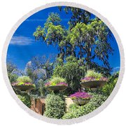 Flower Garden 04 Round Beach Towel