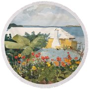 Round Beach Towel featuring the painting Flower Garden And Bungalow by Celestial Images