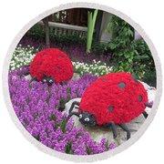 Flower Garden Ladybug Purple White I Round Beach Towel