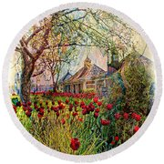 Flower Garden Series 02 Round Beach Towel