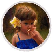 Flower Girl - Tropical Portrait With Plumeria Flowers Round Beach Towel